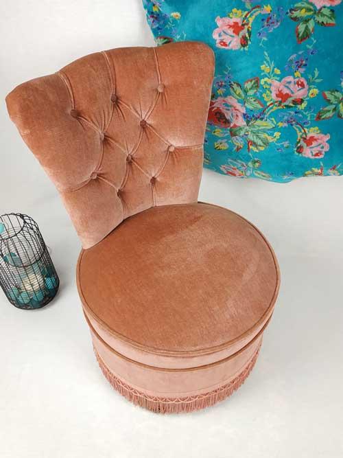fauteuil chauffeuse velours rose poudré FabriQémoi