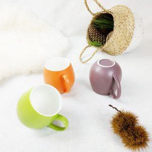 fabriqémoi lot de 6 bols contemporain couleur orange ou vert pomme ou violet avec anse