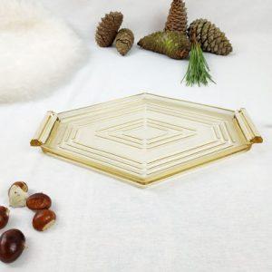 Petit plateau en verre transparent ocre en forme de losange style vintage
