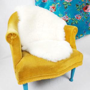 fauteuil chauffeuse velours moutarde FabriQémoi