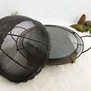 plateau à fromage ou garde manger cloche et plateau en grillage acier noir