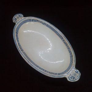 porte savon porcelaine écru à petits motifs bleus