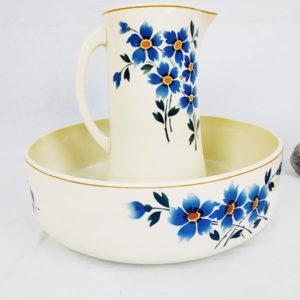ensemble vasque et broc moulin des loups suzette floral bleue de Hamage FabriQémoi