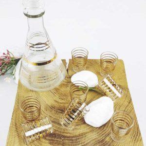carafe et 8 verres à digestif transparent avec liserés or FabriQémoi