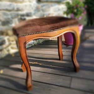 tabouret de piano bois et velours marron Fabriqemoi
